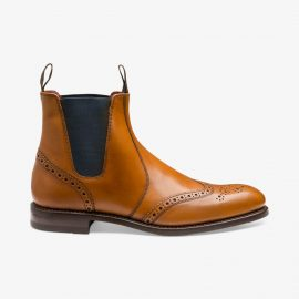 Loake Hoskins tan brogue Chelsea boots