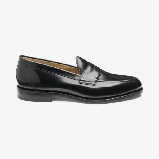 Loake Imperial polished leather black penny loafers