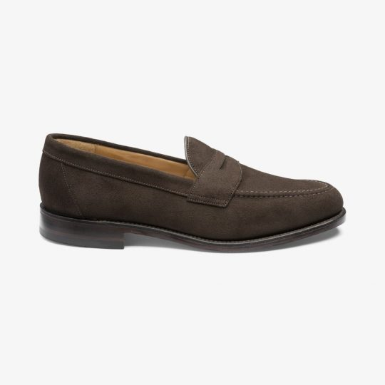 Loake Imperial suede dark brown penny loafers