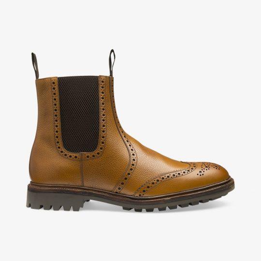 Loake Keswick tan brogue Chelsea boots