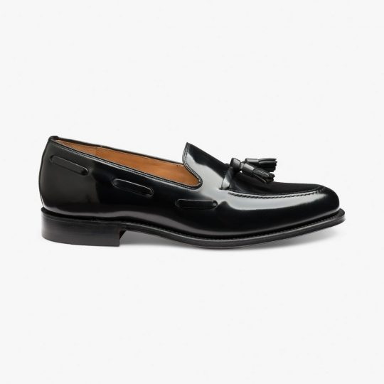 Loake Lincoln polished leather black tassel loafers