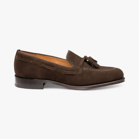 Loake Lincoln suede dark brown tassel loafers