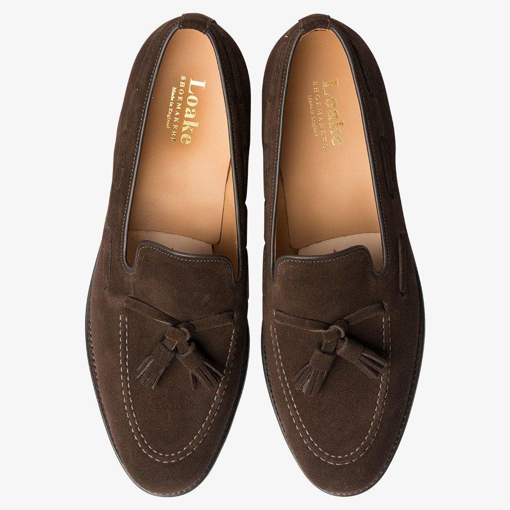 Loake Lincoln suede dark brown tassel loafers