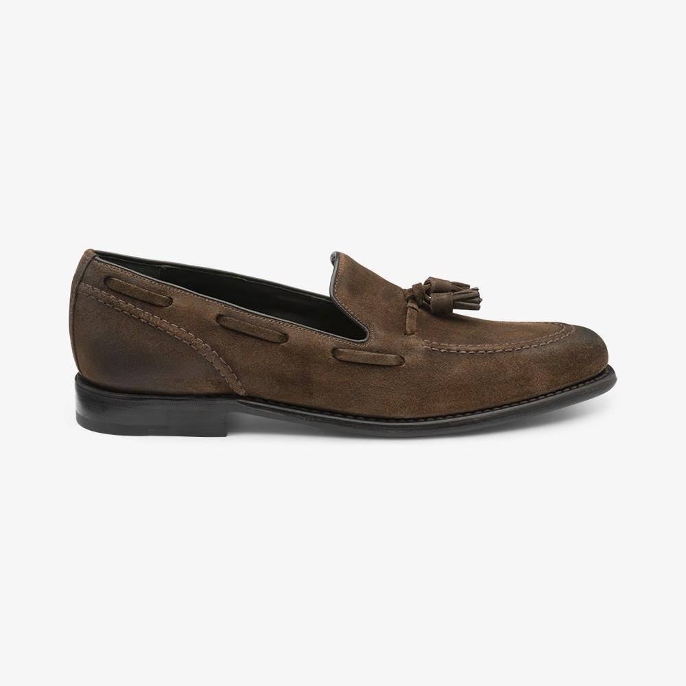 Loake Locke suede brown tassel loafers