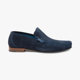 Loake Nicholson suede navy loafers