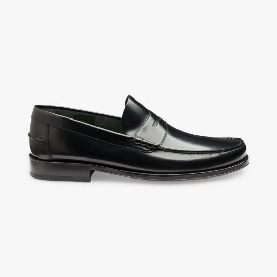 Loake Princeton polished leather black penny loafers
