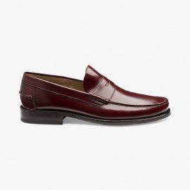 Loake Princeton polished leather burgundy penny loafers