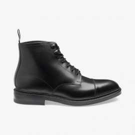 Loake Roehampton black lace up toe cap boots