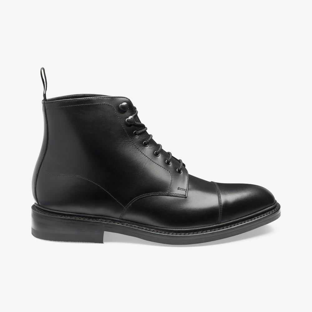 Loake Roehampton black lace up toe cap boots