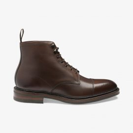 Loake Roehampton dark brown lace up toe cap boots