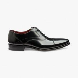 Loake Sharp polished leather black toe cap oxford shoes