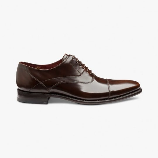 Loake Sharp polished leather dark brown toe cap oxford shoes