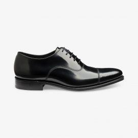Loake Smith black toe cap oxford shoes