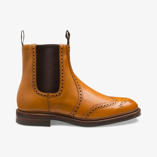 Loake Thirsk tan Chelsea brogue boots