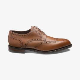 Loake Wembley mahogany brogue derby shoes