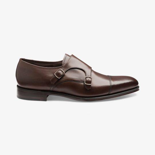Loake Wensum dark brown toe cap monk strap shoes