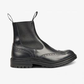 Tricker's Burford black brogue Chelsea boots