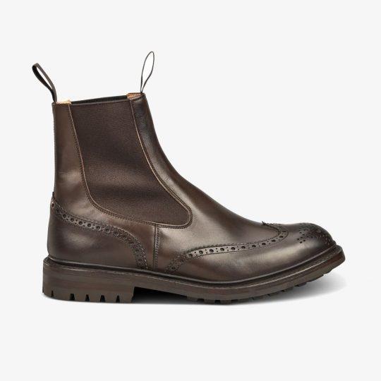 Tricker's Burford espresso burnished brogue Chelsea boots