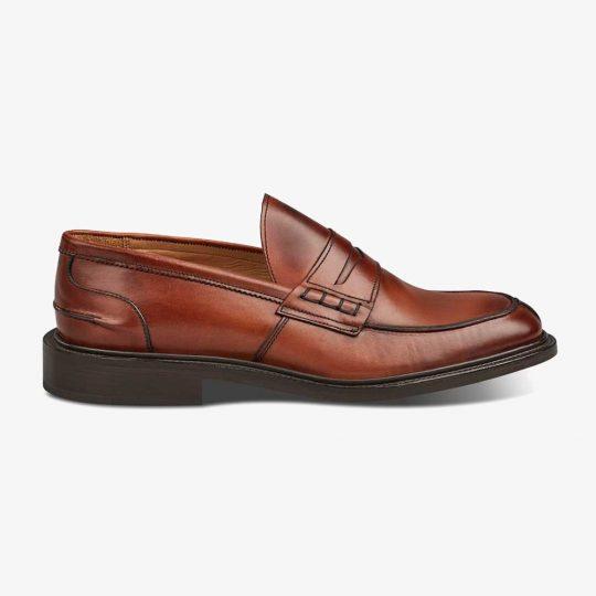Tricker's James chestnut burnished penny loafers