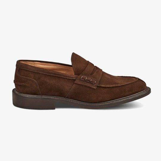 Tricker's James suede chocolate penny loafers