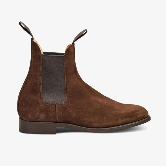 Tricker's Lambourn suede chocolate Chelsea boots