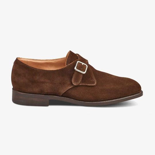 Tricker's Mayfair suede chocolate monk strap shoes
