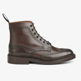 Tricker's Stow espresso burnished lace up brogue boots